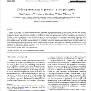 تعریف عدم قطعیت در پروژه ها – یک رویکرد نوین