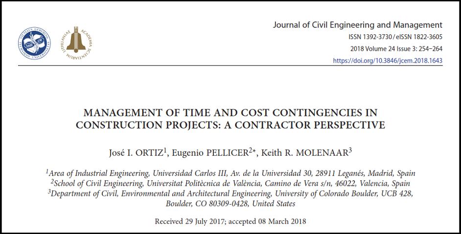 مقاله مدیریت زمان و هزینه های احتمالی